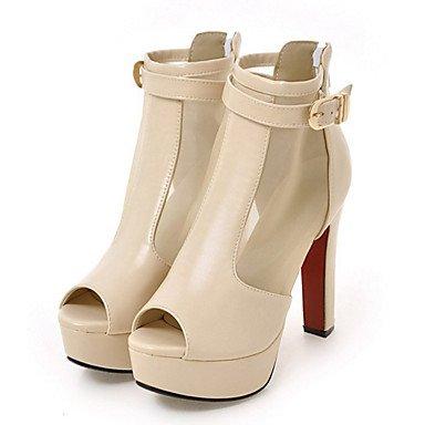 RTRY Zapatos De Mujer Brillante Glitter Net Moda Otoño Invierno Confort Novedad Botas Botas Bota Chunky Talón Peep Toe Botines/Botines Zipper White Us9.5-10 / Ue41 / Reino Unido /7.5-8 Cn42 White|US9.5-10 / EU41 / UK7.5-8 / CN42