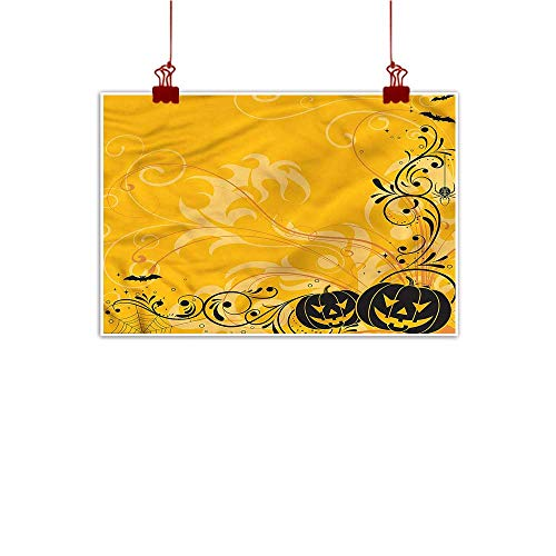 (Anzhutwelve Canvas Wall Art Halloween,Pumpkins Bats Halloween 24