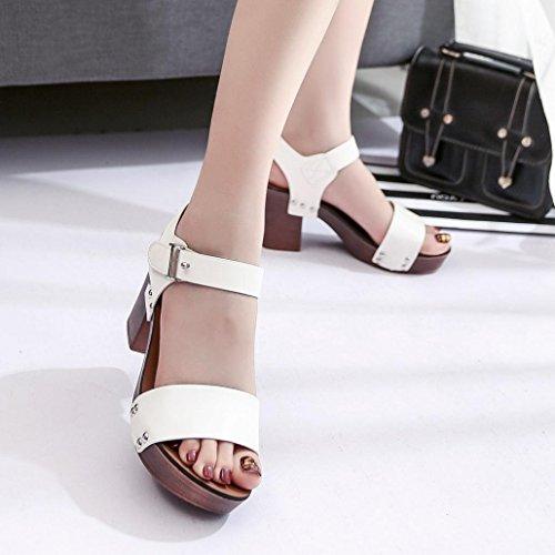 Zapatos de vestir, SHOBDW Cabeza de la plataforma del verano de la manera de las mujeres con los zapatos de los holgazanes de las sandalias Blanco 2#