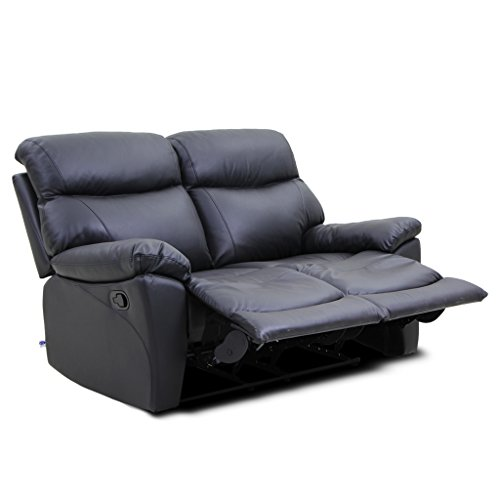 Dual Rocking Reclining Loveseat - VH FURNITURE Reclining Sofa Loveseat Made Of Top Grain Leather Retro Style