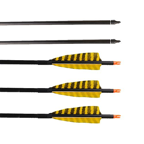 Huntingdoor 32-Inch Carbon Arrows with 4-Inch Feather Fletching Replaceable Points Hunting Arrows Targeting Arrows Spine 400 for Recurve Bow Longbow Hunting Bow( pack of 6) (Yellow)