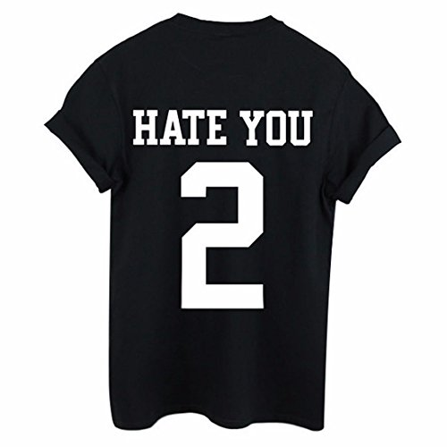 Las mujeres odian Usted 2 de Camiseta con estampado tapa floja de la blusa de manga corta camisetas