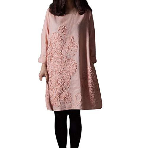 Rawdah- Completi sportivi da donna Cerimonia Aderente Quotidiano Casuale Floreale Patchwork cotone Biancheria sciolto Bohe Mini Vestito Rosa