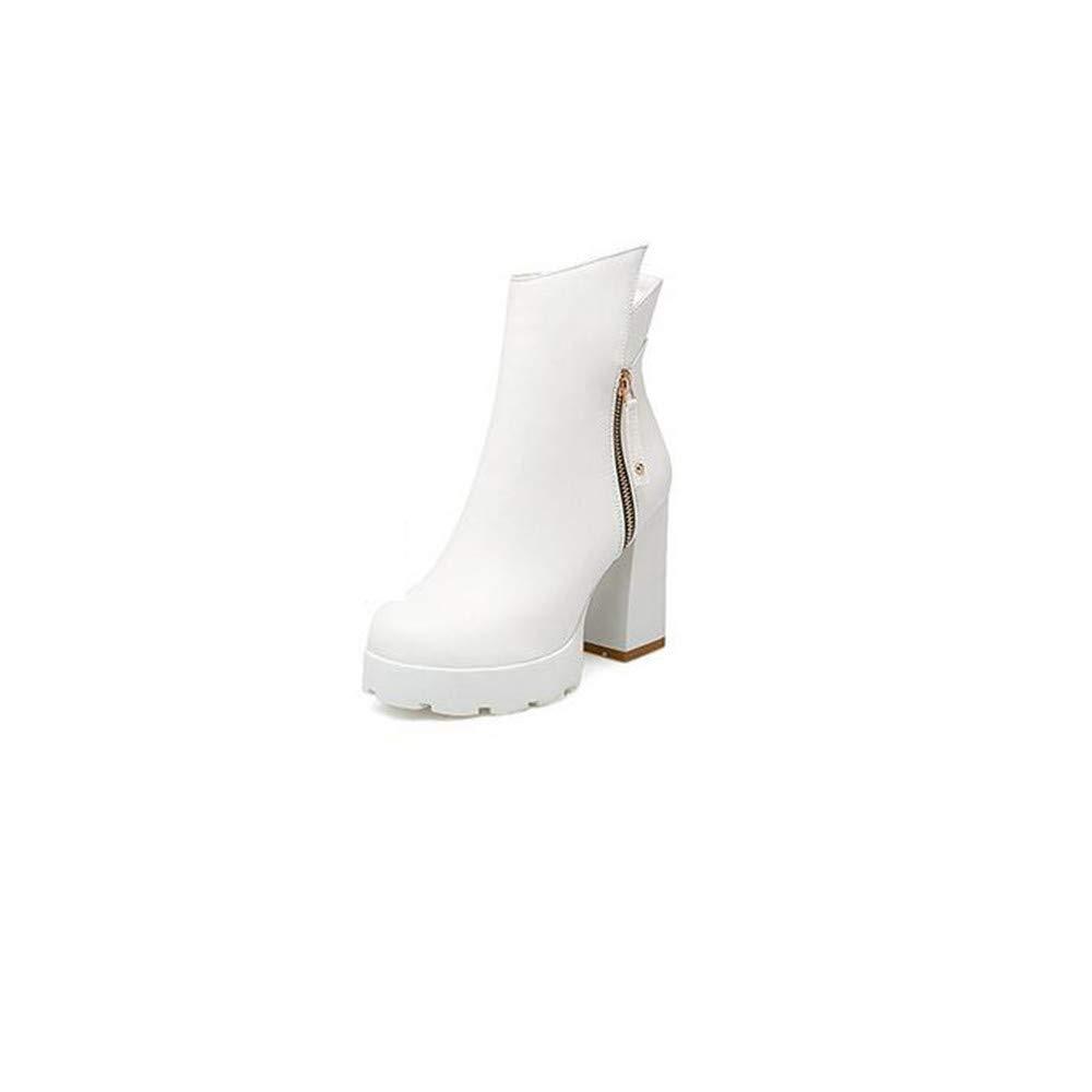 Weibliche dicke Ferse Stiefel Herbst-und Winter-Größe Code Runden Kopf Wasserdichte Plattform dick mit Mode Wild Damen Stiefeletten High Heels B07JYRR13D Stiefel Schönes Aussehen