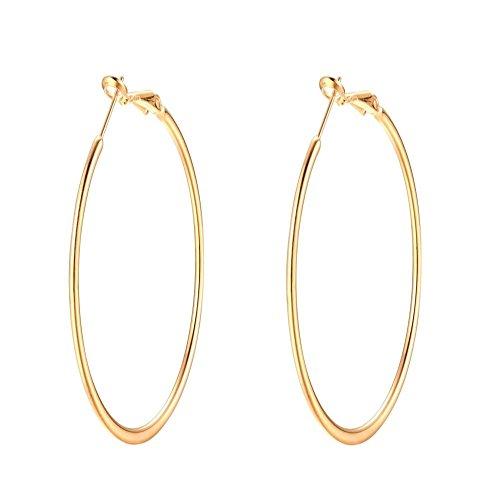 70mm 14K Yellow Gold Plated Big Basketball Hoop Earrings For Women Girls Huggie Large Hypoallergenic Hoops 3 Inch (yellow (14k Gold Large Hoop Earrings)