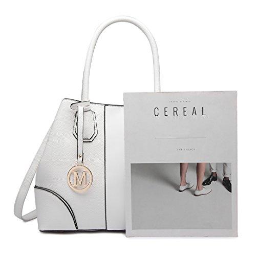 Lulu Design Handbags Shape Women Handle Elegant V Look Leather White Top Miss 1822 Fashion for Shoulder Handbag dI7q8v