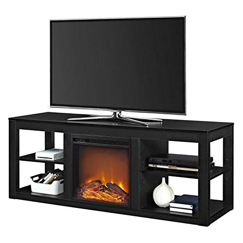 Cheap Modern 2-in-1 Electric Fireplace TV Stand in Black Black Friday & Cyber Monday 2019