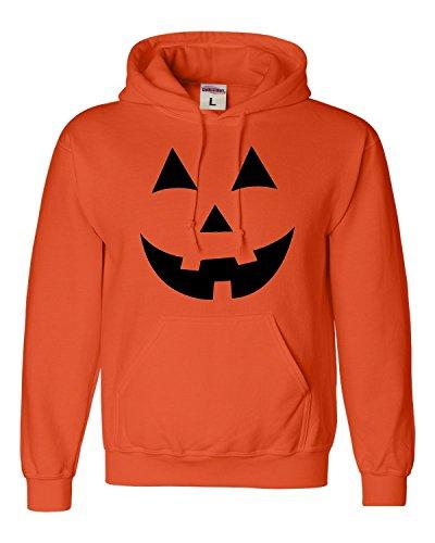 X-Large Orange Adult Jack O Lantern Pumpkin Face Halloween Funny Sweatshirt Hoodie]()