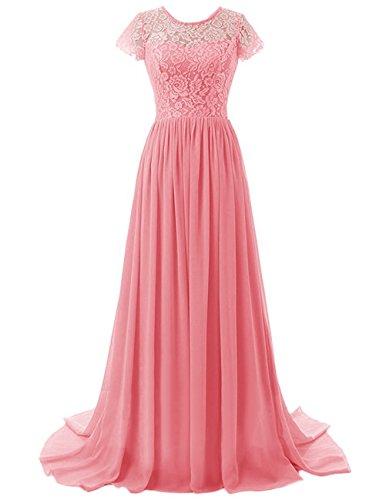 Ärmeln Damen Lange Abendkleid mit Koralle Kleid Brautjungfer Beonddress Abendkleid Chiffon C8POvvx