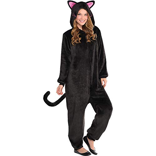 AMSCAN Zipster Black Cat One Piece Halloween Costume for Women, Small/Medium, with Included Accessories