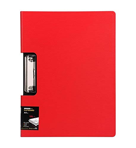 - File Cover Folder Clipboard, Profile Clip File Folder, 360 Degree Flip Writing Pad, PP File Clipboard for A4 and Letter Size Business, Office, School Papers - Vertical, Red