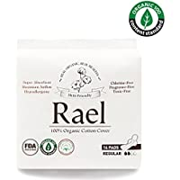 Rael Certified Organic Cotton Menstrual Regular Pads, Ultra Thin Natural Sanitary Napkins with Wings (28 Total), Pack of 2