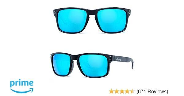717cdd59d21b Amazon.com  B.N.U.S Retro sports sunglasses for men women fashion blue  mirrored lenses (Black Blue Flash