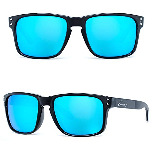 B.N.U.S Retro sports sunglasses for men women fashion blue mirrored lenses (Black/Blue Flash, Non-Polarized ()