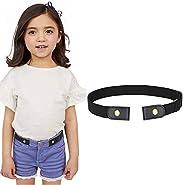Kids No Buckle Elastic Belt Buckle Free Stretch Belt for Girls Boys (Black, suit for pants size below 25 Inche
