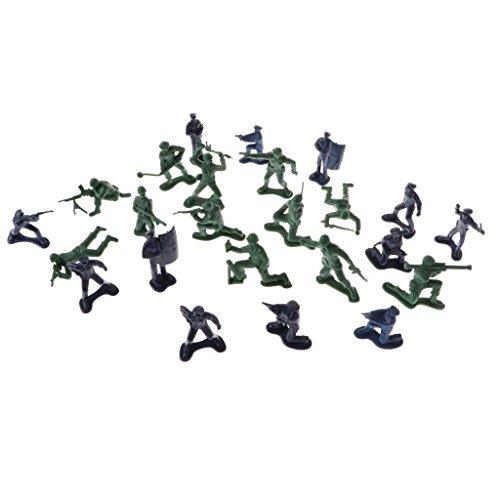 Perfk 24個セット アクションフィギュア 警察官 兵士モデル 兵士プレイセット