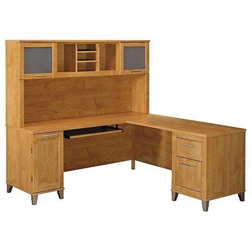 Somerset Maple Collection - Somerset 71W L Shaped Desk with Hutch in Maple Cross