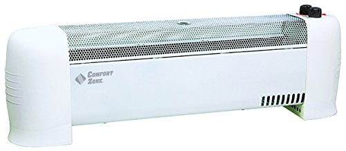 Comfort Zone CZ600 1500-Watt Convection Baseboard Heater with Silent Operation, White