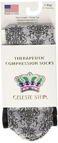 Celeste Stein Therapeutic Compression Socks, Grey Damask, 8-15 mmHg, Mild, 0.6 Ounces