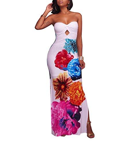 Women's Floral Off The Shoulder Bodycon Tube Top Maxi Long Dress Plus Size White