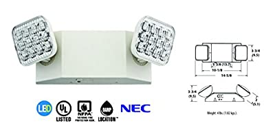Lithonia Lighting EU2 T20C M12 2-Light White LED Emergency Fixture with 90 Minute Back Up Up, Generation 2, T20 Compliant