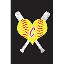 C Monogram Initial Softball Journal: Softball Notebook Personalized, 6x9 lined blank notebook, 150 pages, journal to write in for journaling, notes, or inspirational quotes, paperback composition book