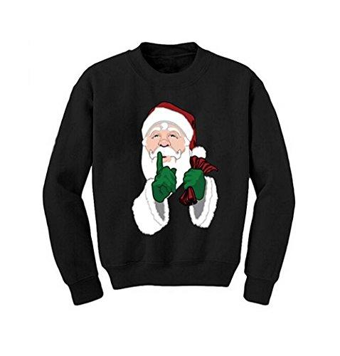 WAZZIT Unisex Sweater Funny Print Christmas Santa Crewneck Sweatshirt Jumper ()