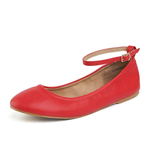 DREAM PAIRS Women's Sole-Fina-Straps Red Ankle Straps Ballet Flats Shoes - 6 B(M) US