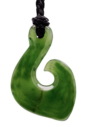 Stylized Pacific Island Genuine Nephrite Jade Fish Hook Necklace