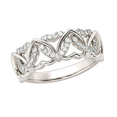 925 Sterling Silver 1.00 Ct Round Cut Simulated Diamond Interlocking Hearts Shape Women's Wedding Band 8