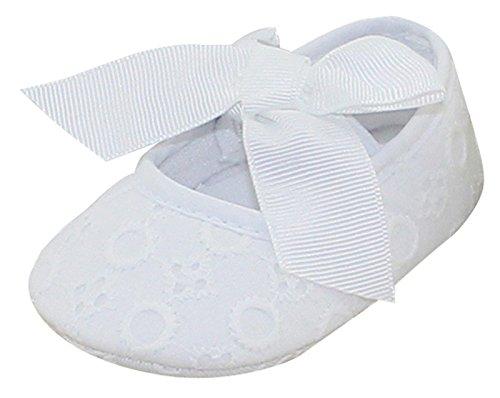 Aivtalk Baby Mädchen Taufschuhe Mary Jane Schuhe Babyschuhe Krabbelschuhe mit Schleife Kleine Prinzessin - Weiß