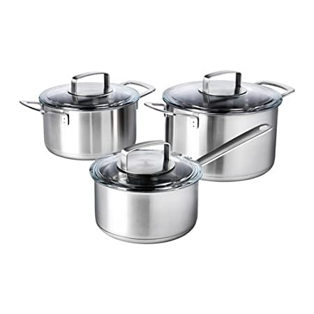 4a15366e1 High Quality 6-piece cookware set IKEA 365+ Stainless steel/glass:  Amazon.co.uk: Kitchen & Home