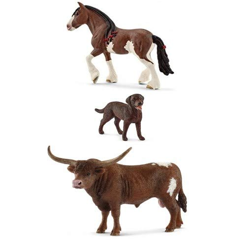 (Schleich Set of Three Farm Animals with Horse, Bull and Labrador Dog: Beautiful and Large Texas Longhorn Bull and Clydesdale Mare with a Chocolate Lab Quality Toys Bagged Together)