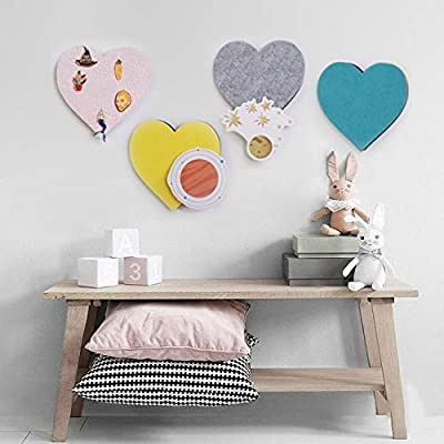 Felt Bulletin Board Cork Board Tiles, 4 pcs Puzzle Heart Hexagon Pin Board w/Self Adhesive to Keep Memories Photos Memos Display Board Pads Pictures Drawing Goals Notes Colorful Foam Wall Decorative y: Home & Kitchen