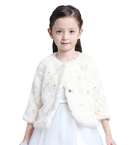Kid Girls' Pearl Beaded Diamond Faux Fur Wedding Party Wrap Shawl Coat White 2-4 by Tortor 1Bacha