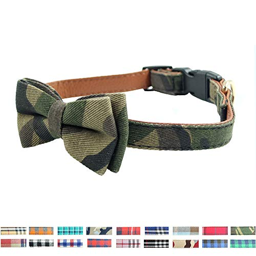 Dog Collar Bow Ties - Sturdy Soft Cotton&Leather Camouflage Collars for Small Medium Large Dogs Breed Puppies Adjustable 18 Colors and 3 Sizes (Camouflage, L 15