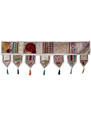 Indiase Handgemaakte Traditionele Geborduurde Toran Katoen Thoranam Deur Woonkamer Decor Bandanwar Home Valance Decoraties Venster Opknoping Boheemse Muur Etnische Decoratieve Vintage (Off White 1 Meter)