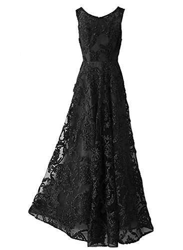 Elegant Schwarz Abendkleider O-ausschnitt Ärmellose Lang Luckyshe Spitze Damen Ballkleid