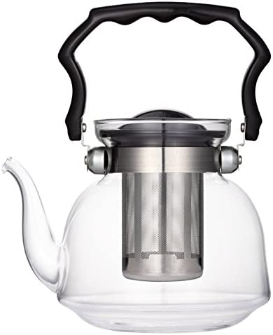 Uniware A10046 Pyrex glass Teapot with Filter, 2200ml, Clear