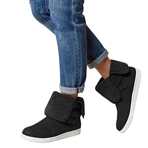 Womens High Top Fleece Platform Sneakers Winter Slip on Fold Down Sherpa Cuff Booties Ankle Snow Boots -