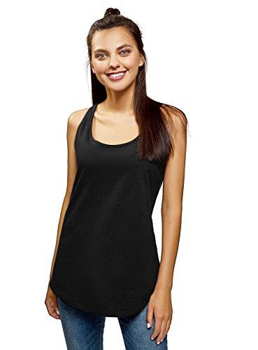 (oodji Ultra Women's Basic Cotton Tagless Tank Top, Black, US 8 / EU 42 / L)