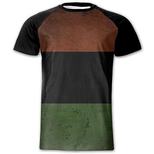 (Men's African American Flag Novelty Casual Crew Neck Short Sleeve Raglan Baseball Tee)