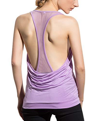 Women's Yoga Tank Activewear Mesh Workout Sports Racerback Cute Tops (Lilac, Small)