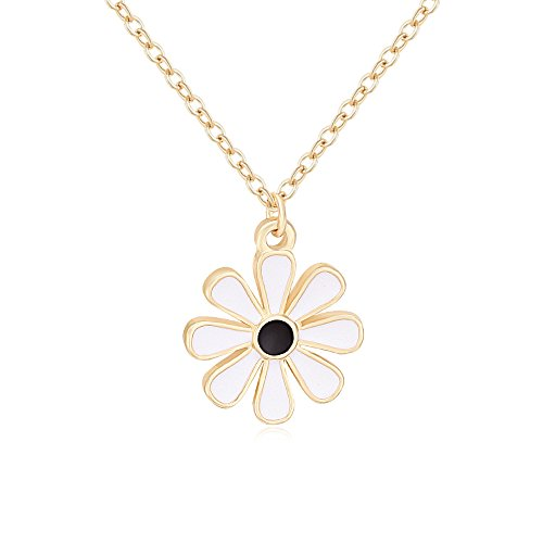 TUSHUO Simple Forget Me Not Necklace Enamel Flower Necklace Floral Daisy Necklace for Women (Gold)