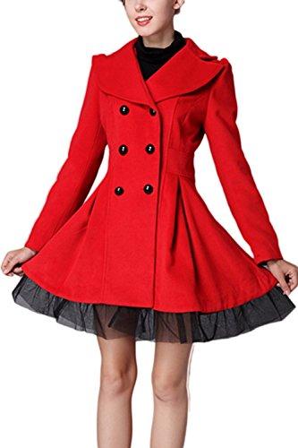 Abrigo Lana Mujer Invierno Red Elegante Botonadura Abrigos Encaje De De Patchwork Ropa La De Doble RZq0wxpA