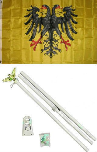 ALBATROS 3 ft x 5 ft German 1st Reich Holy Roman Empire Germany Flag White with Pole Kit Set for Home and Parades, Official Party, All Weather Indoors Outdoors
