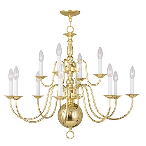(Livex Lighting 5014-02 Williamsburg 12-Light Chandelier, Polished Brass )