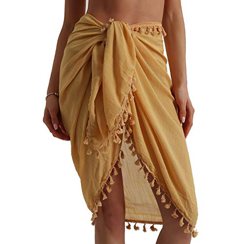 Eicolorte Beach Sarong Pareo Womens Linen Cotton Swimwear Cover Ups Short Skirt with Tassels (Yellow-Short)