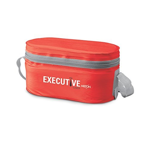 Milton Executive Lunch Box Soft Insulated Tiffin Box (2 SS Container,1 Microwave Safe Container),Red by Milton