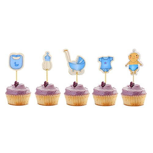 Newbested 60 Count Boy Baby Shower Cupcake Toppers,Birthday Cake Decoration Picks -